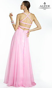 Image of long V-neck open-back prom dress with cut-outs. Style: AL-35766 Back Image