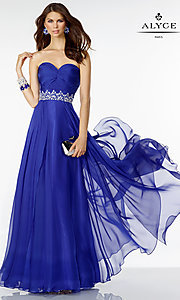 Image of long chiffon sweetheart Alyce prom dress Style: AL-35808 Front Image