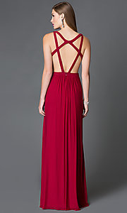 Image of long open back sheer midriff cutout prom dress  Style: FA-7741 Back Image