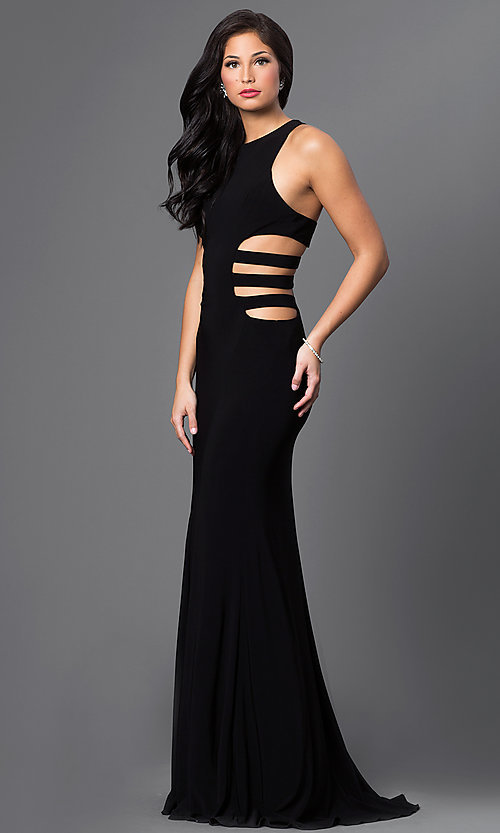 Image of Faviana side-cut-out prom dress with strappy back. Style: FA-7820 Detail Image 1