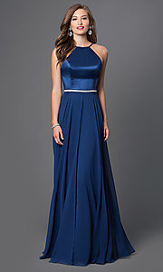 Image of open-back Faviana long designer formal prom dress. Style: FA-7761 Front Image