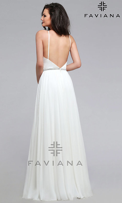 Image of open-back Faviana long designer formal prom dress. Style: FA-7761 Detail Image 3