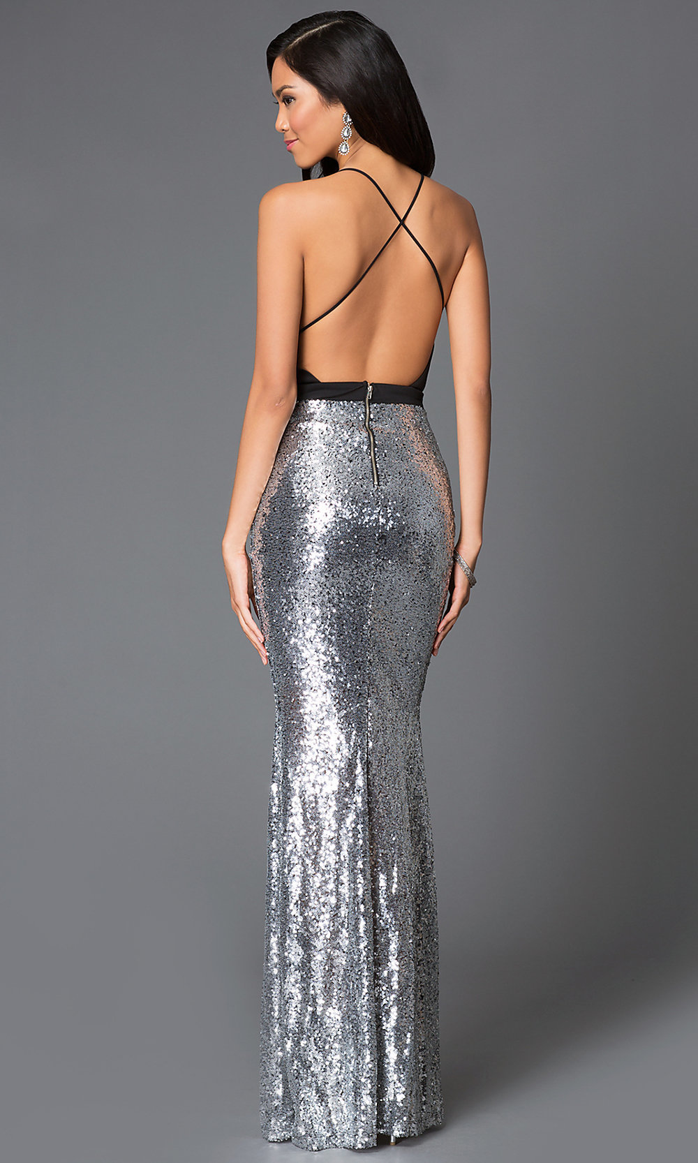 Sequin open back dress pictures