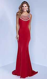 Image of red floor-length formal prom dress with beading. Style: LN-SP-J412 Back Image