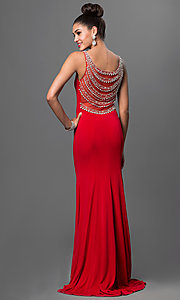 Image of red floor-length formal prom dress with beading. Style: LN-SP-J412 Front Image
