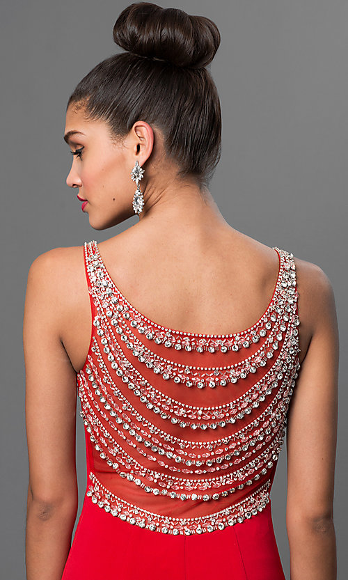 Image of red floor-length formal prom dress with beading. Style: LN-SP-J412 Detail Image 1