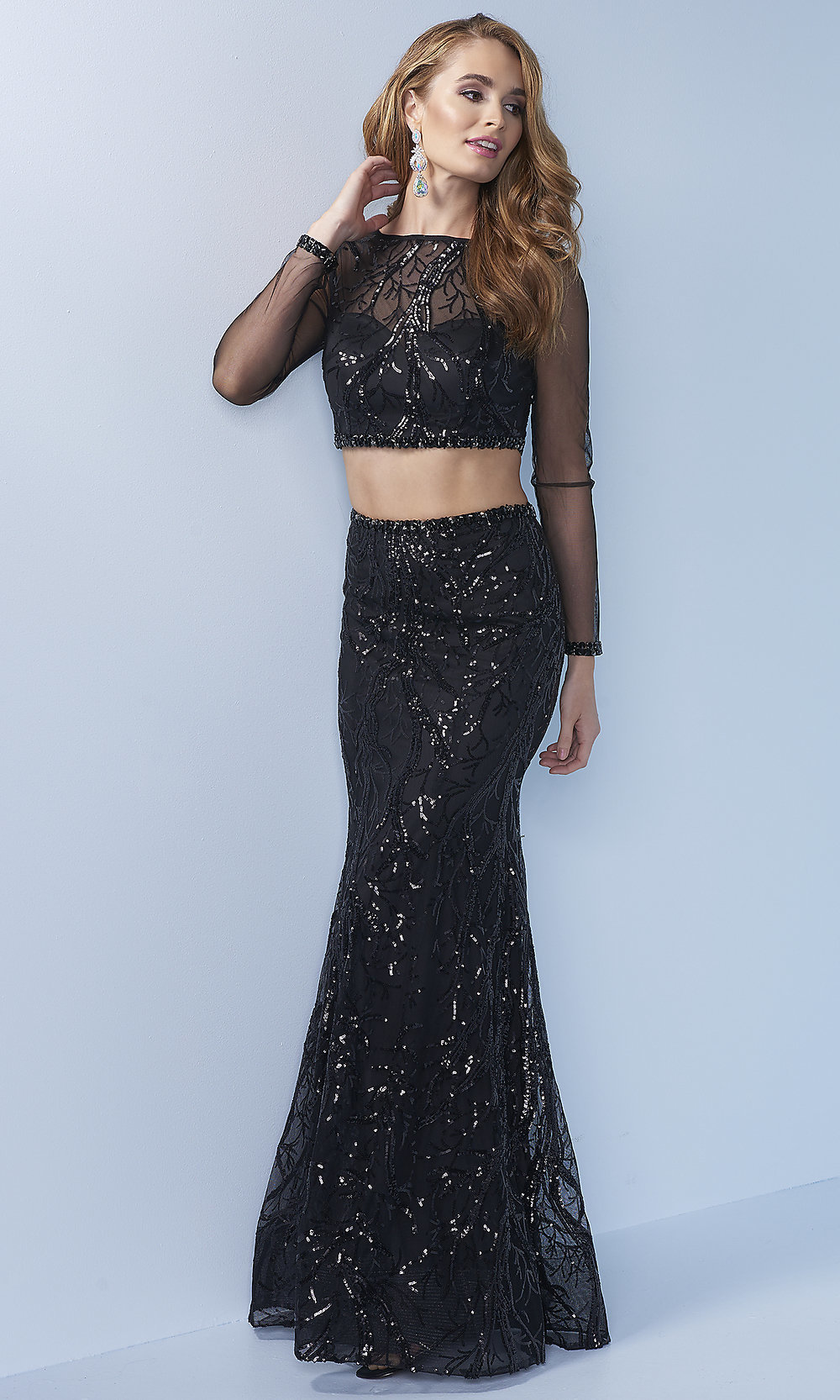 Sheer Long Sleeve Two Piece Sequin Prom Dress