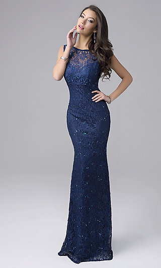 Sleeveless Nina Canacci Long Lace Prom Dress