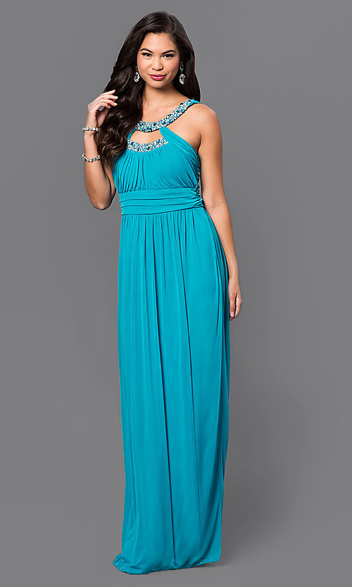 Image of long sleeveless blue dress with ruched bodice jewel embellished neckline and empire waist Style: CT-8420EP1B Front Image