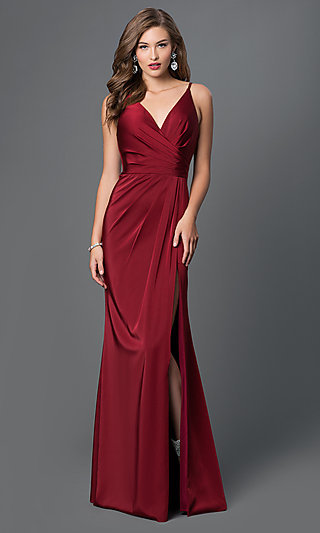 Faviana V-Neck Ruched Open-Back Floor Length Dress