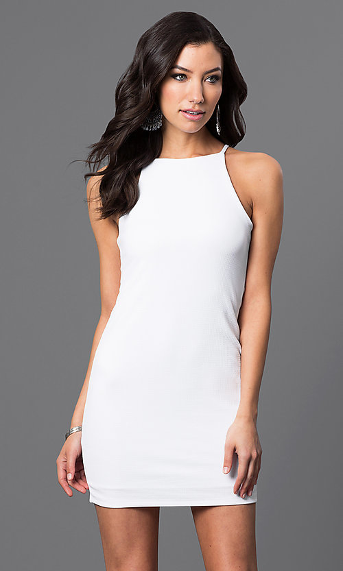 Image of short racerback dress. Style: CH-2634 Detail Image 2