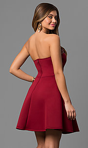 Image of short strapless beaded sweetheart neck A-line dress  Style: CL-43713 Back Image