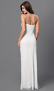 Image of long white v-neck spaghetti-strap dress by Marina Style: JU-MA-260528i Back Image