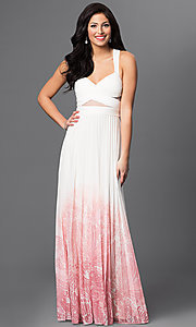 Image of ivory and pink v-neck criss cross back floor length dress  Style: BA-A17285 Front Image