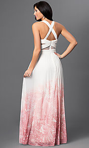 Image of ivory and pink v-neck criss cross back floor length dress  Style: BA-A17285 Back Image