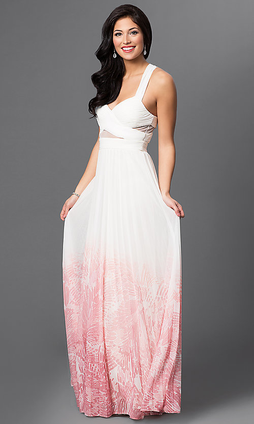 Image of ivory and pink v-neck criss cross back floor length dress  Style: BA-A17285 Detail Image 1