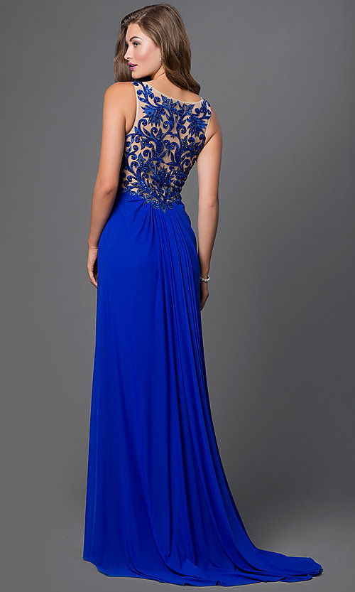 Image of long sleeveless illusion lace-back prom dress. Style: CD-1378 Back Image