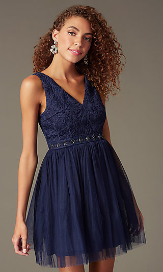 Short V-Neck Party Dress with Lace Embroidery