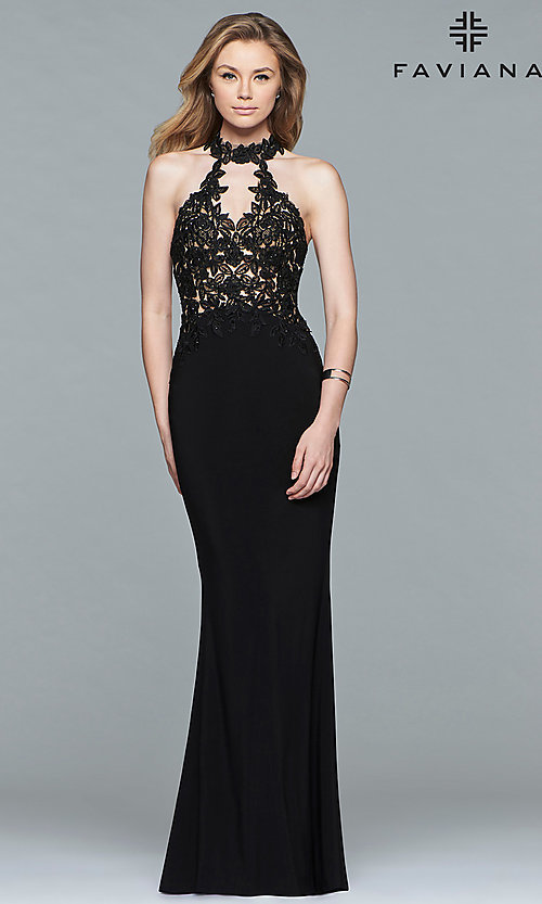 Image of high-neck Faviana prom dress with embroidered bodice. Style: FA-7750 Detail Image 1
