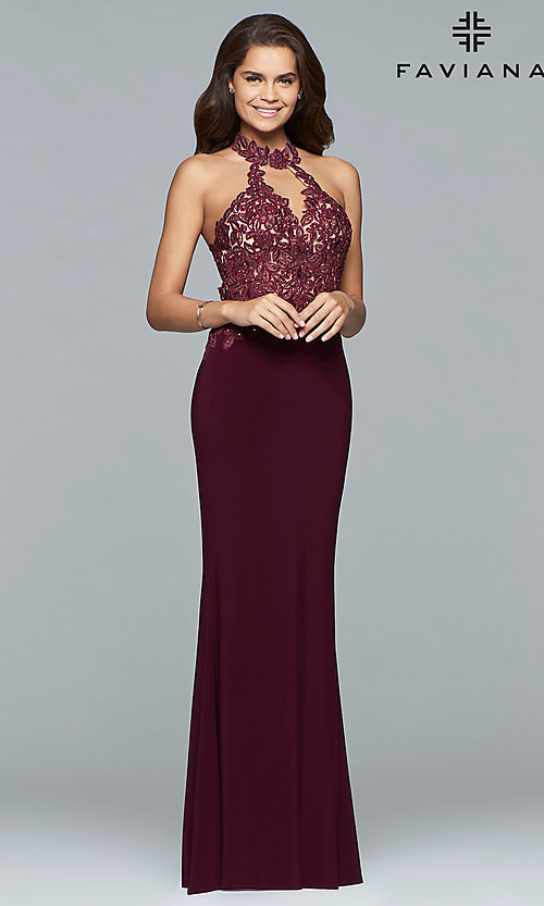 Image of high-neck Faviana prom dress with embroidered bodice. Style: FA-7750 Front Image