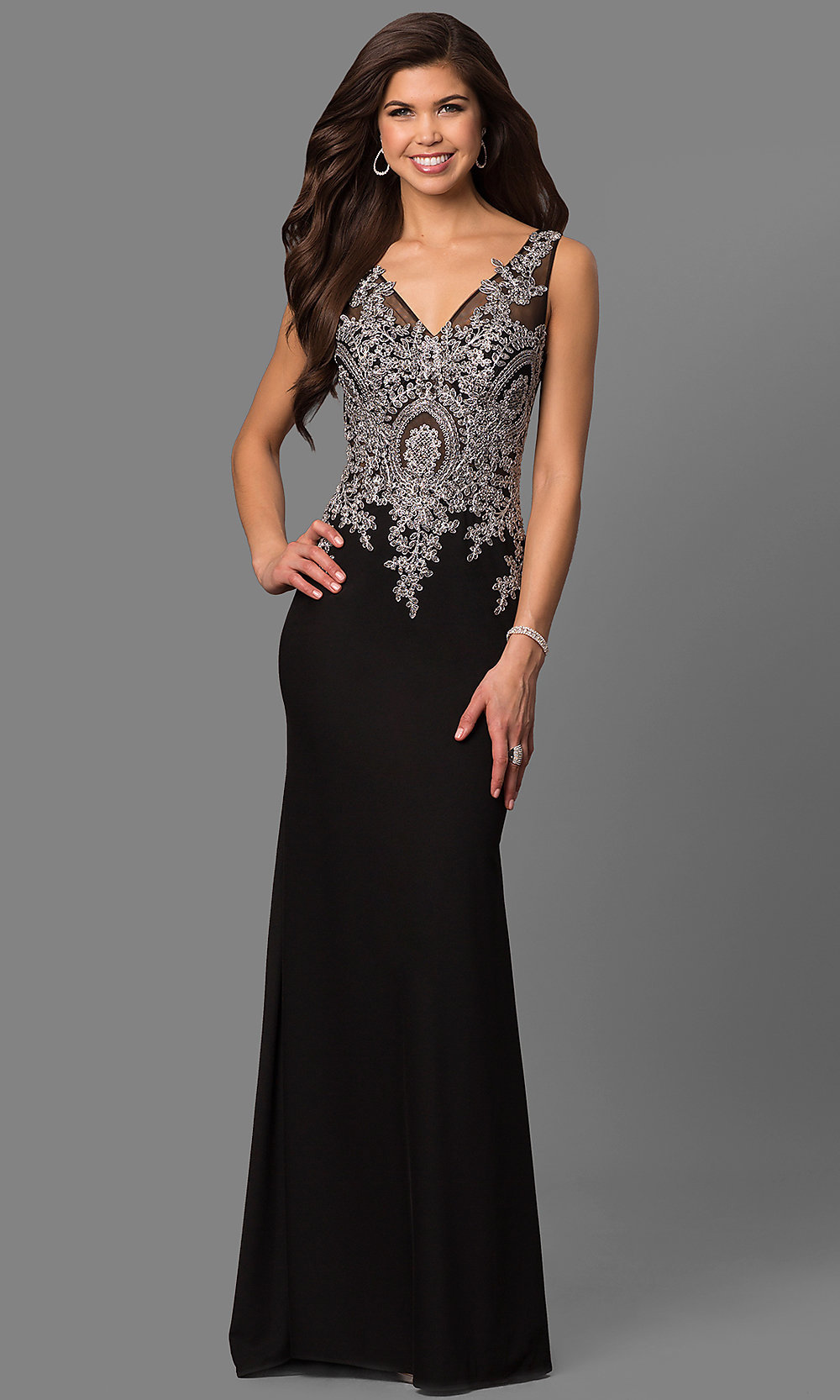 Black Evening Dress with Lace Bodice - PromGirl