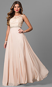Image of long formal sleeveless chiffon dress with lace bodice. Style: DQ-9325 Detail Image 1
