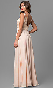 Image of long formal sleeveless chiffon dress with lace bodice. Style: DQ-9325 Back Image