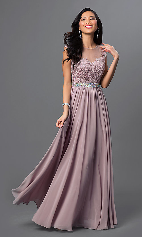 Image of embroidered-lace sheer-illusion long prom dress Style: DQ-9400 Front Image