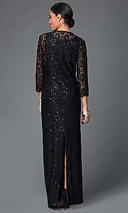 Image of long sequined lace dress with matching jacket Style: DQ-9093 Back Image