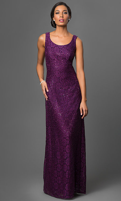 Image of long sequined lace dress with matching jacket Style: DQ-9093 Detail Image 3
