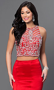 Image of long two-piece prom dress with jeweled top. Style: DQ-9268 Detail Image 2
