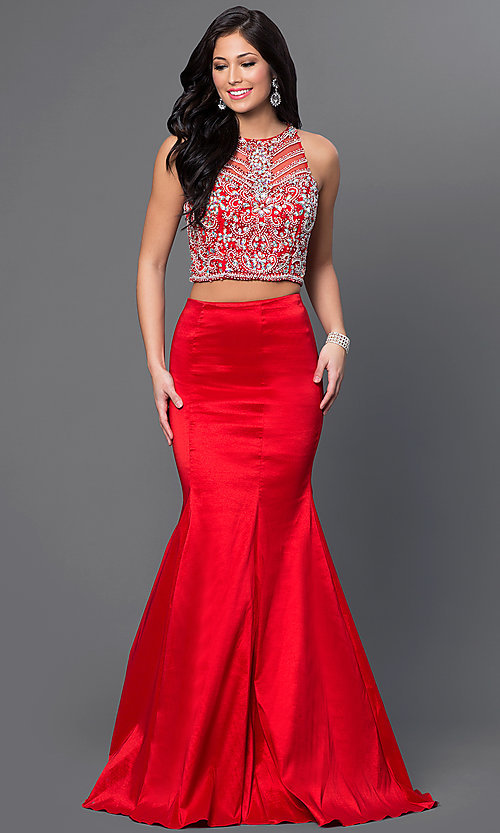 Image of long two-piece prom dress with jeweled top. Style: DQ-9268 Detail Image 1