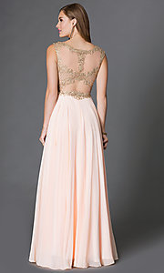Image of chiffon long prom dress with embroidered-lace bodice. Style: DQ-9266 Back Image