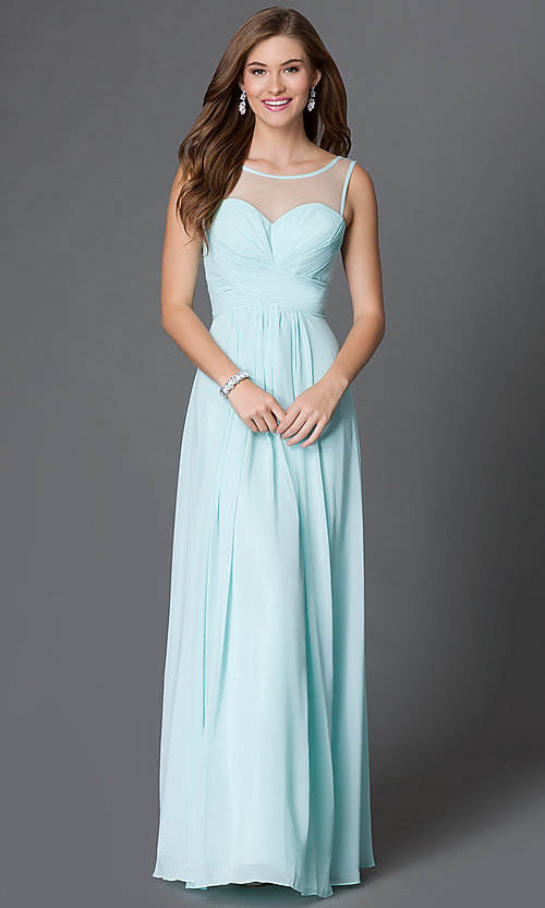 Image long of sleeveless dress with corset back Style: DQ-9202 Front Image
