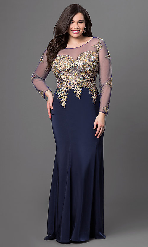 Image of illusion dress with lace applique and sleeves. Style: DQ-8999 Detail Image 1