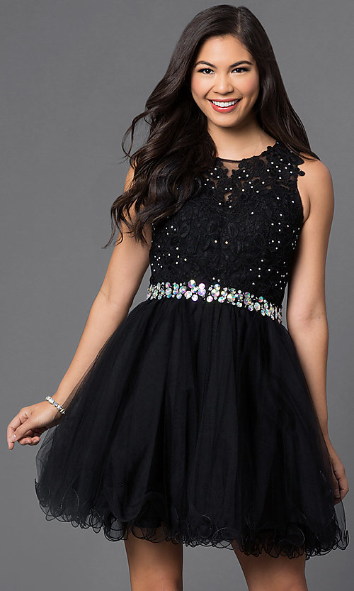 Image of semi-formal short lace-embellished homecoming dress. Style: DQ-9159-v Front Image