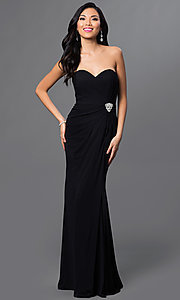 Image of long strapless sweetheart dress Style: AL-35805 Detail Image 1