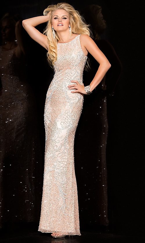 Scoop Back Sequin Prom Dress by Scala