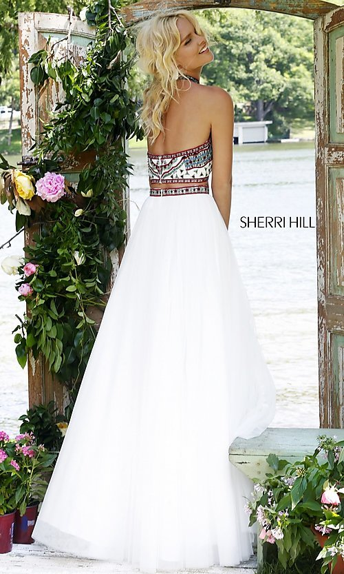 Image of Sherri Hill embroidered-top two-piece long prom dress. Style: SH-50075 Back Image