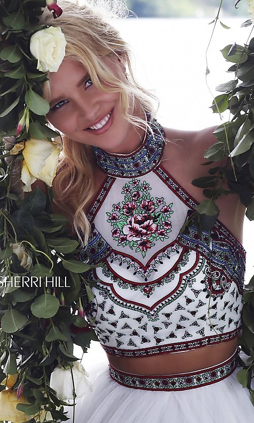 Image of Sherri Hill embroidered-top two-piece long prom dress. Style: SH-50075 Detail Image 1