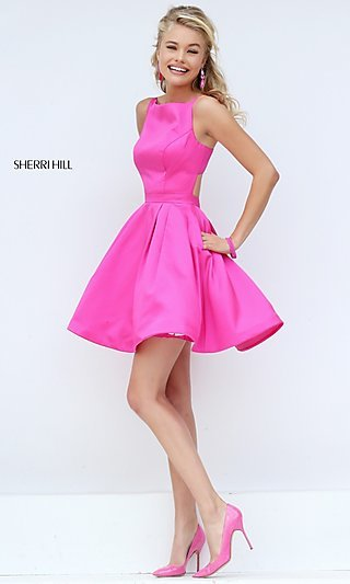 Short Sleeveless Fit-and-Flare Dress by Sherri Hill