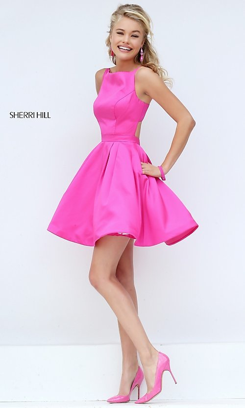 Image of short sleeveless fit-and-flare dress by Sherri Hill. Style: SH-50427 Front Image