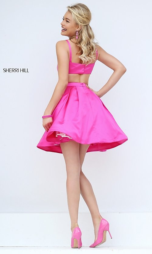 Image of short sleeveless fit-and-flare dress by Sherri Hill. Style: SH-50427 Back Image