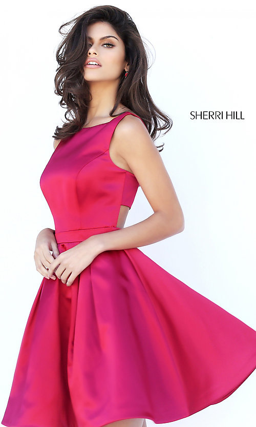 Image of short sleeveless fit-and-flare dress by Sherri Hill. Style: SH-50427 Detail Image 1