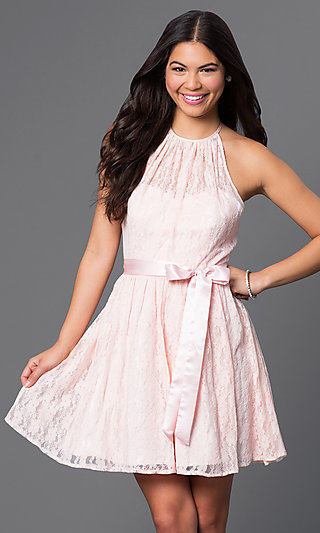 Short Pink Lace Halter Dress by Masquerade