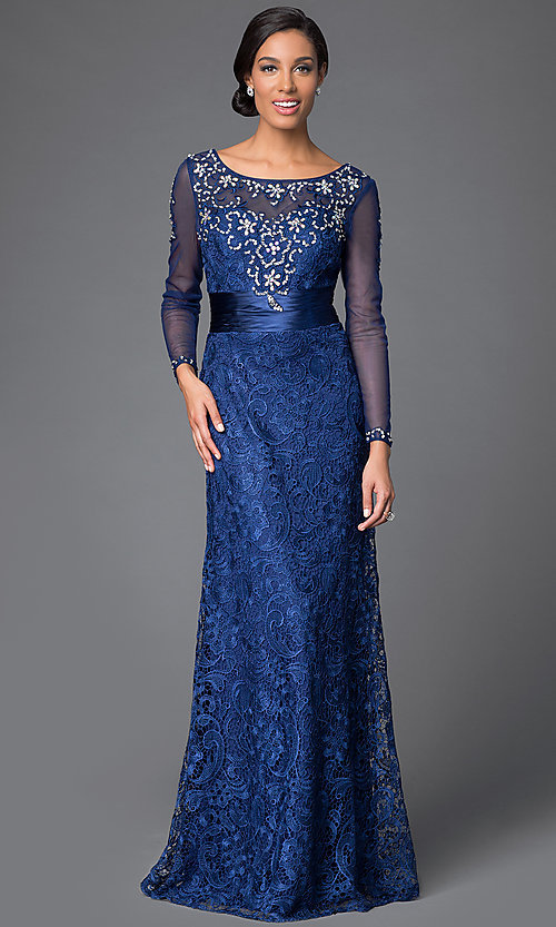 Lace Floor Length Dress with Long Sheer Sleeves