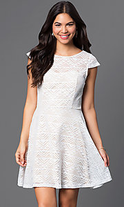 Image of short ivory-white cap-sleeve lace dress Style: BBL-3IMCL0103 Front Image
