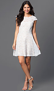 Image of short ivory-white cap-sleeve lace dress Style: BBL-3IMCL0103 Detail Image 1