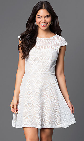 Short Ivory Lace Dress with Cap Sleeves