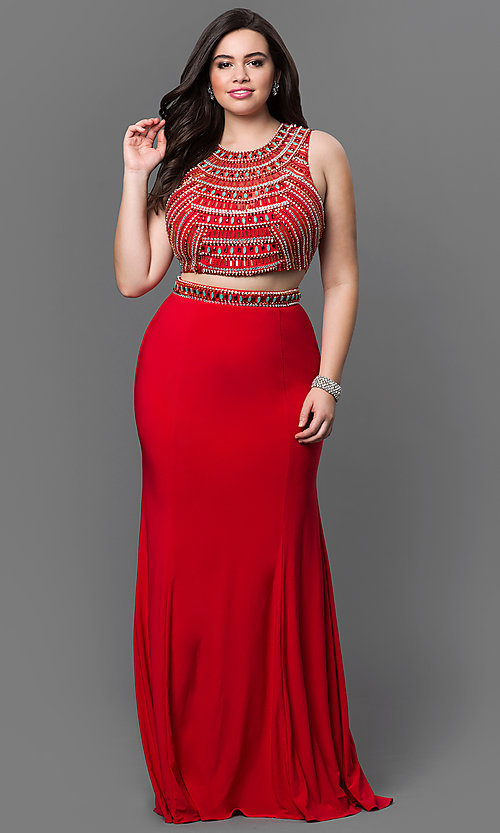 Image of long two-piece open-back plus-size prom dress. Style: NA-8174P Front Image